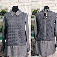 """Красивая женская удлиненная рубашка """"Трикотаж+Коттон"""" 44, 46, 48 размер батал"""