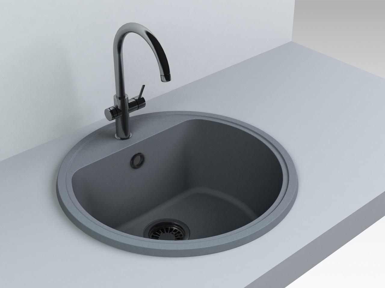 Кухонная мойка из искусственного камня 516*516*220 мм Miraggio MALIBU (серый)