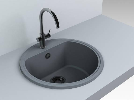 Кухонная мойка из искусственного камня 516*516*220 мм Miraggio MALIBU (серый), фото 2