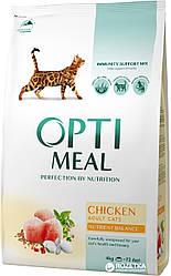Сухой корм Opti Meal для взрослых котов с курицей, 4 кг