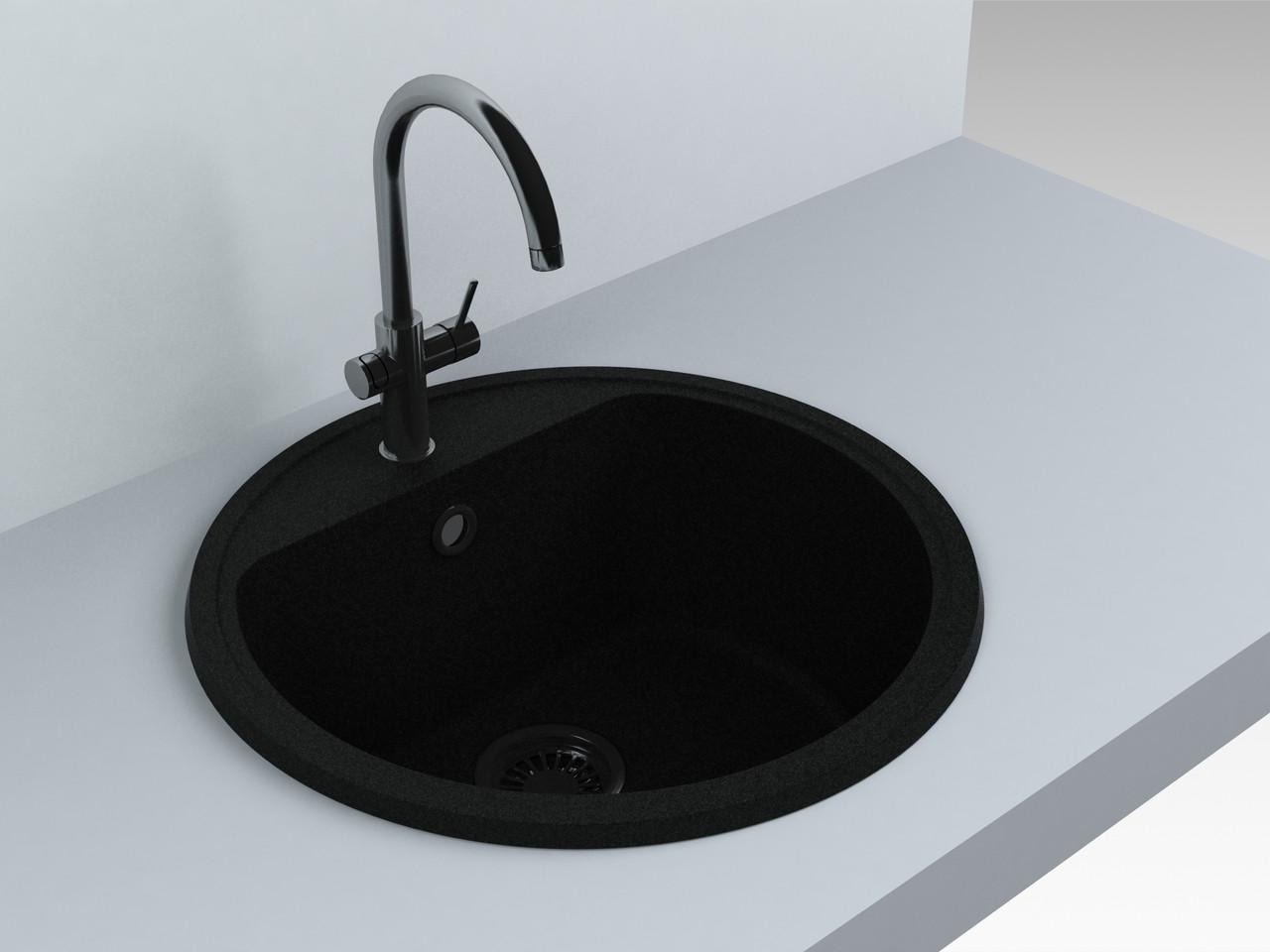 Кухонная мойка из искусственного камня 516*516*220 мм Miraggio MALIBU (черный)