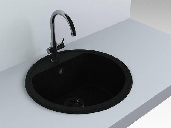 Кухонная мойка из искусственного камня 516*516*220 мм Miraggio MALIBU (черный), фото 2