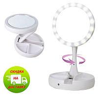 Зеркало с led подсветкой My Foldaway Mirror для макияжа с десятикратным увеличением, фото 1