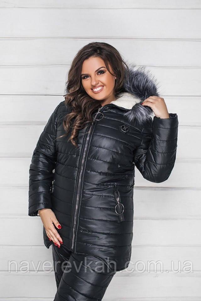 Женский зимний теплый лыжный костюм большого размера синий шоколад мята черный 48-50 52-54 56-58