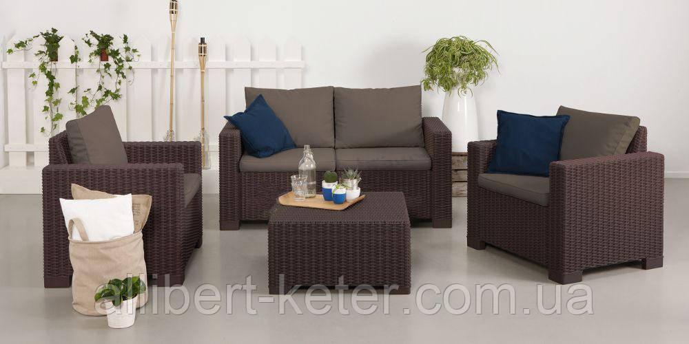 Набор садовой мебели California 2 Seater Set Brown ( коричневый ) из искусственного ротанга