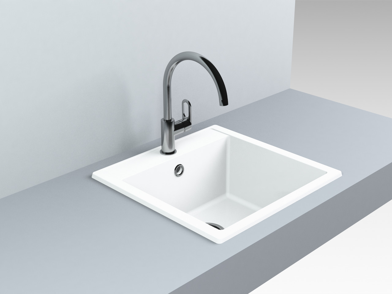Кварцевая мойка для кухни 509*495*227 мм Miraggio Bodrum 510 белый матовый