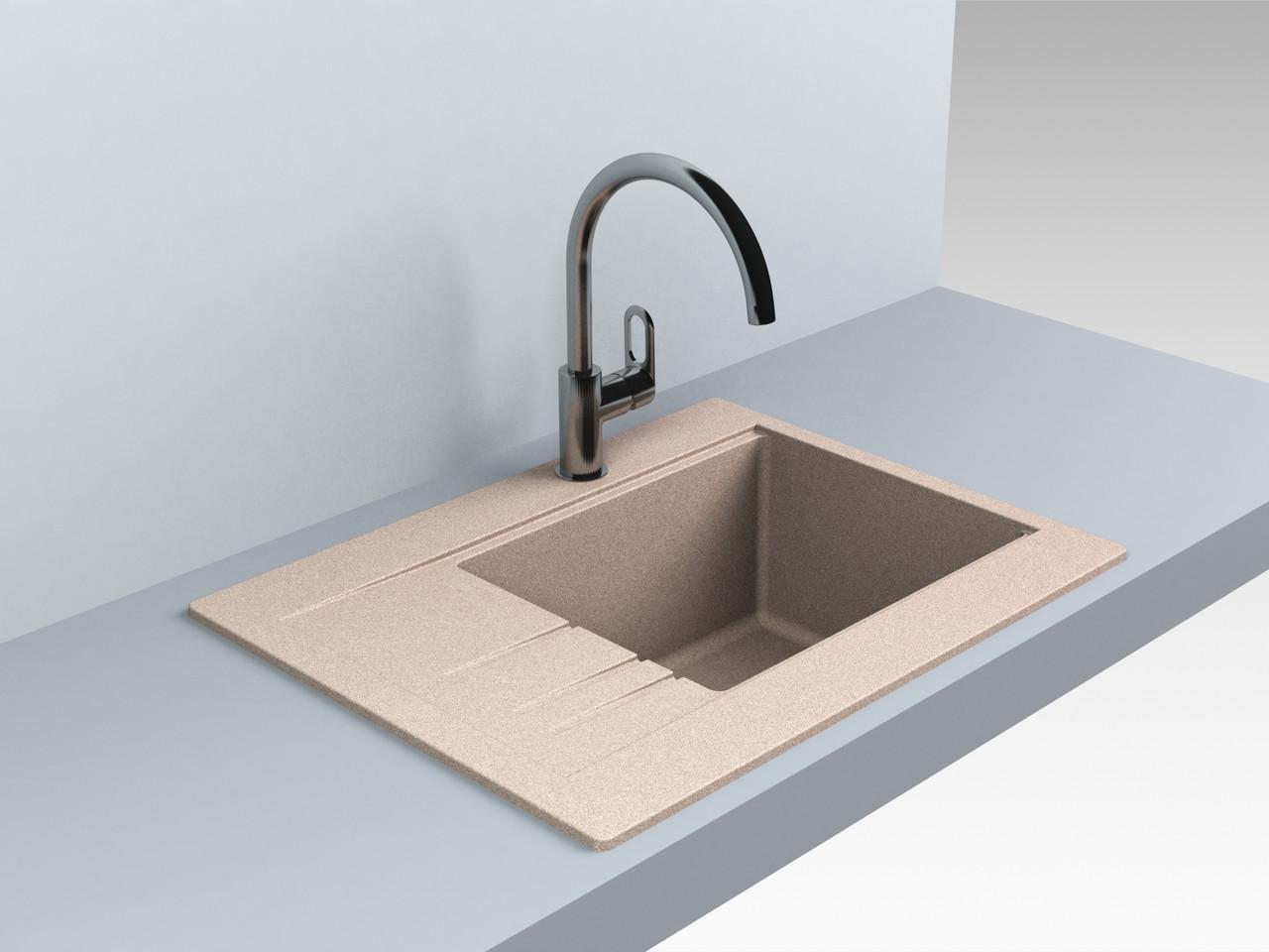 Гранитная мойка для кухни 649*500* 200 мм Miraggio Bodrum 650 песочный