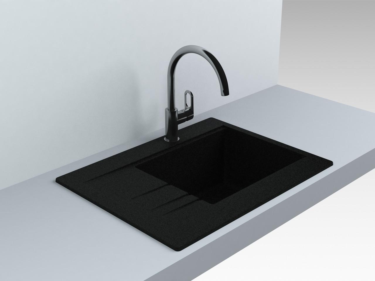 Гранитная мойка для кухни 649*500* 200 мм Miraggio Bodrum 650 черный