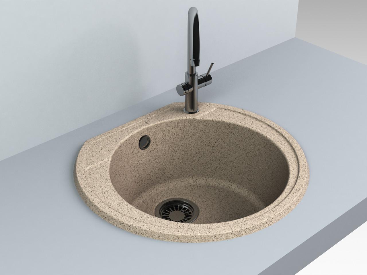 Кухонная мойка из искусственного камня 52*48*20 см Miraggio Tuluza терра