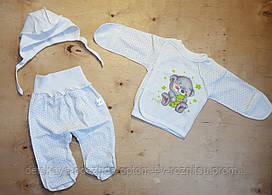 Комплект на новорожденного, начес 56-62 см, белый , рисунок мишка