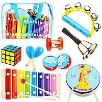 Развивающий набор деревянных музыкальных игрушек для малышей от 1 до 6 лет 14 предметов