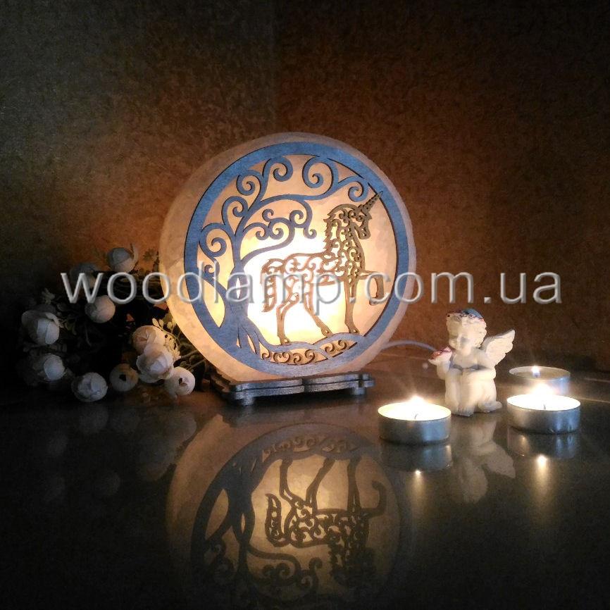 Соляная лампа круглая Единорог цветная