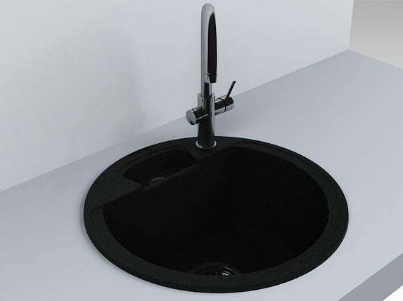 Кухонная мойка из искусственного камня 44*44*20 см Miraggio Valencia черный, фото 2