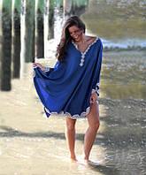 Полукруглая синяя пляжная туника с белой вышивкой опт, фото 1