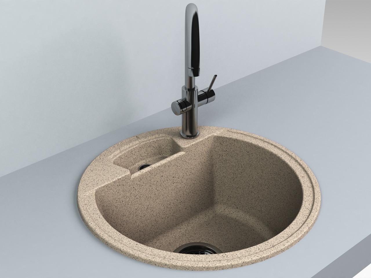 Кухонная мойка из искусственного камня 44*44*20 см Miraggio Valencia терра