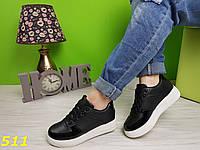 Кроссовки форсы черные с лаковым носочком и пяткой, фото 1