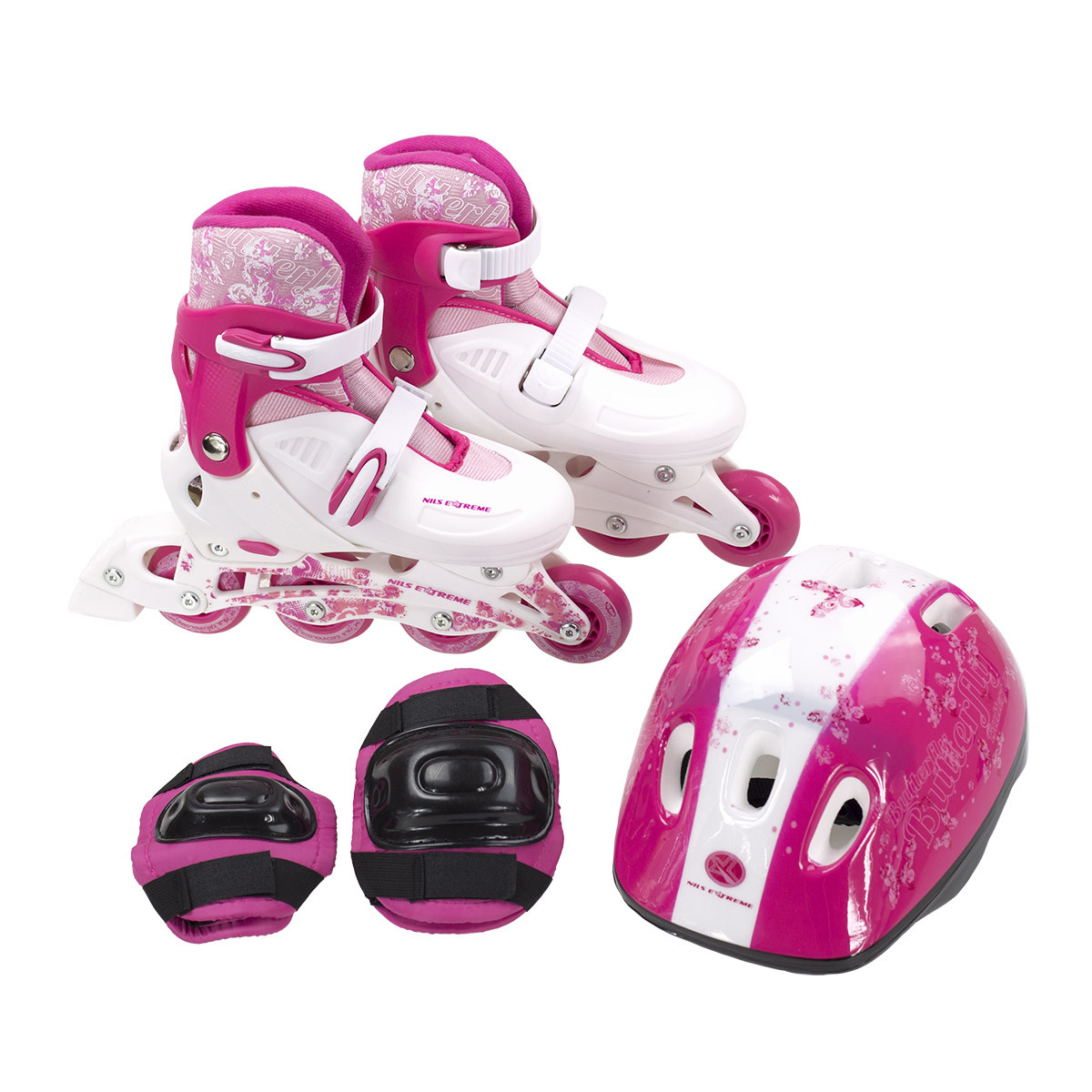 Роликовые коньки Nils Extreme NJ082 Set Size 32-35 Pink/White