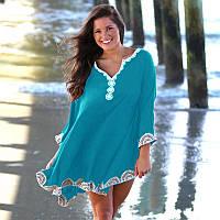 Голубая пляжная туника пончо с белой вышивкой, фото 1