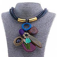 УЦЕНКА Колье Африка, с подвеской из деревянных деталей на чёрном шнуре, в сине-коричневых тонах