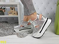 Сникерсы кроссовки на платформе с танкеткой с открытой пяткой серебро, фото 1