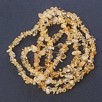 """Бусины натуральный камень на нитке камень Цитрин """"каменная крошка """", длина 85см, диаметр 5мм (+-)"""