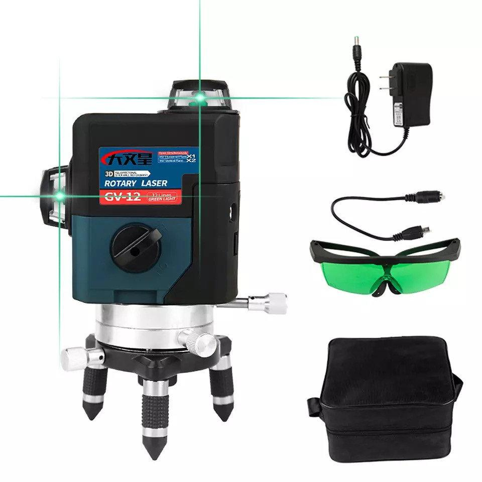 Лазерный уровень DEKO GV-12 3D 12 линий ➜ 2 аккумулятора 4000mAh ➜ Зеленые лучи ➜ ГАРАНТИЯ: 1 год