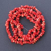 """Бусины натуральный Коралл красный """"каменная крошка """", диаметр 6мм(+-), длина 85см нитка"""