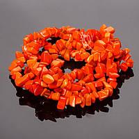 """Бусины на нитке камень оранжевая """"каменная крошка """" 85см"""