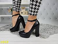 Туфли с застежкой на толстом каблуке экокожа, фото 1