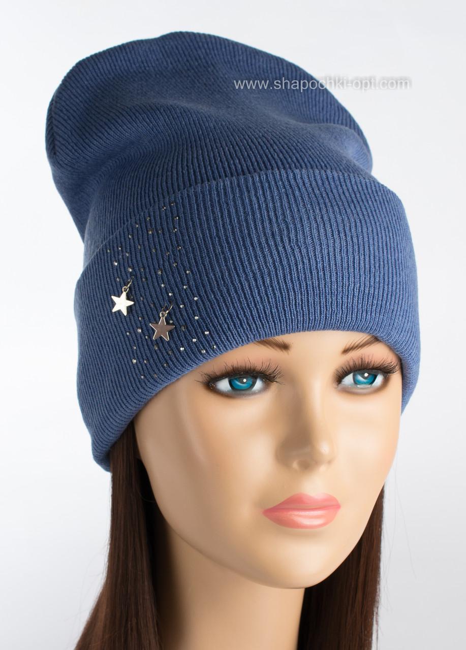 Женская шапочка со стразами Нирвана цвет голубой