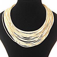 Ожерелье цвета слоновой кости веревочные нити плотные, магнитная застежка сзади 2мм