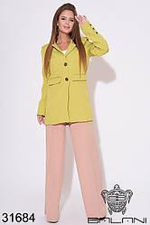 Женский удлинённый пиджак оливковый (размеры 42-46)
