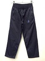 Брюки плащевка  темно-синие для полных мальчиков на флисовой подкладке