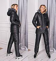 Женский зимний теплый лыжный костюм с мехом черный шоколад мята синий 42 44 46, фото 1