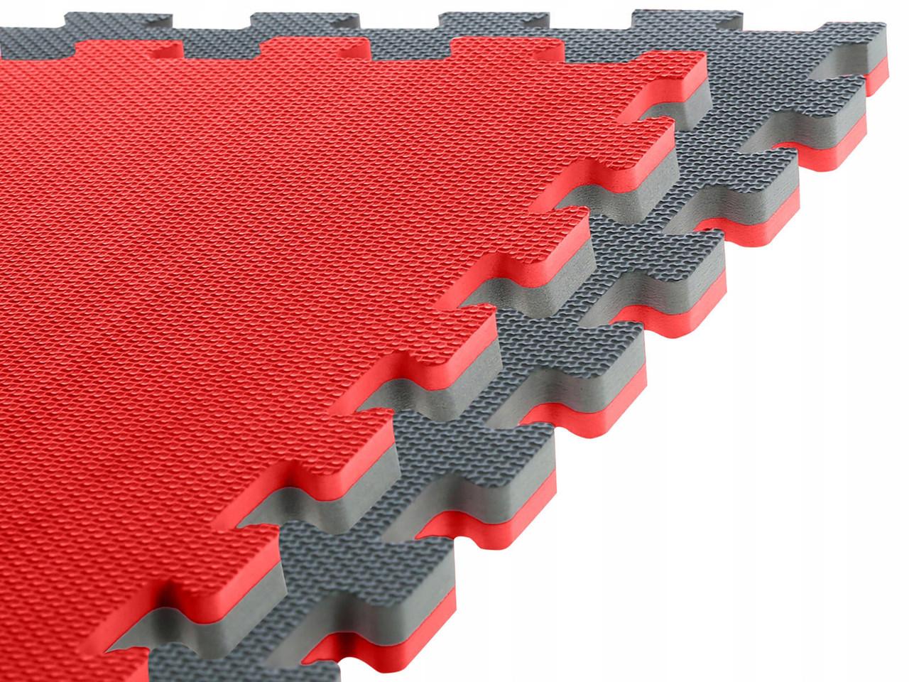 Спортивный мат-татами (ласточкин хвост, пазл) SportVida Mat Puzzle Multicolor 100 x 100 x 2 cм SV-HK0179 Grey/Red