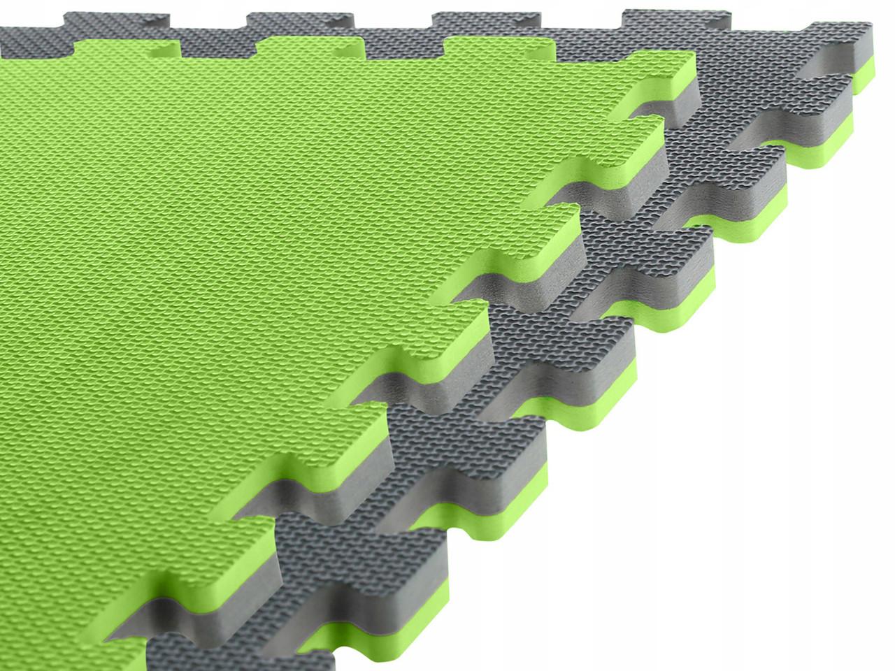 Спортивный мат-татами (ласточкин хвост, пазл) SportVida Mat Puzzle Multicolor 100 x 100 x 2 cм SV-HK0182 Grey/Green