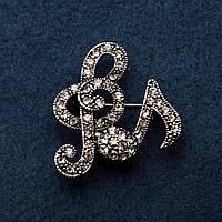 Брошь Скрипичные ключи цвет металла серебро