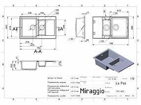 Кухонная мойка из искусственного камня 78*49*20 см Miraggio LaPAS черный, фото 2