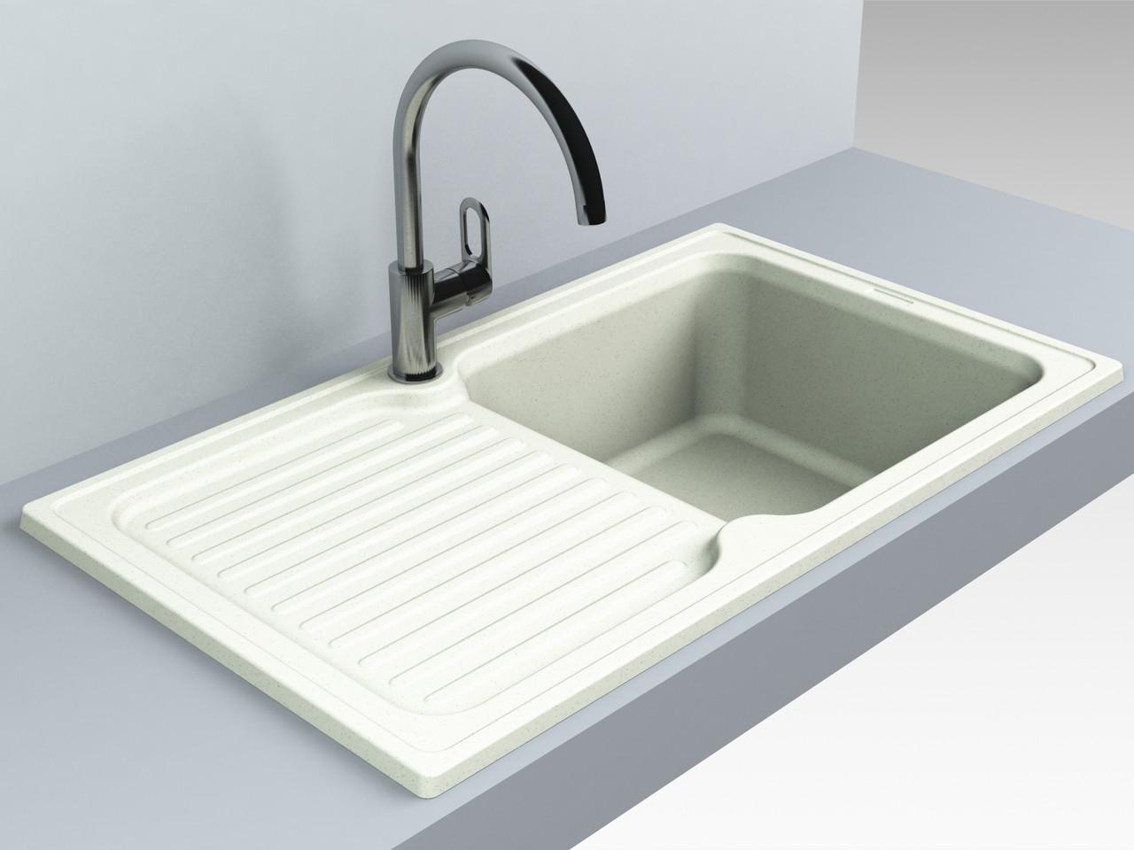 Кухонная мойка из искусственного камня 86*50*21 см Miraggio ORLEAN жасмин