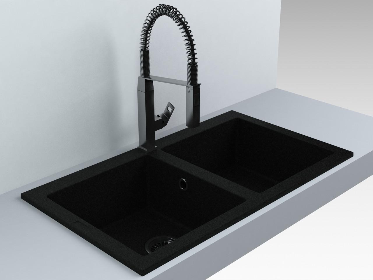 Мойка кухонная 2 чаши кварц (870х500х180 мм) Miraggio WESTEROS (черный)