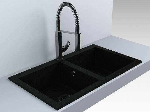 Мойка кухонная 2 чаши кварц (870х500х180 мм) Miraggio WESTEROS (черный), фото 2