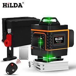 4D Лазерный уровень Hilda 4D 16 линий для стяжки пола, плитки ➜ ПУЛЬТ ➜ Кронштейн ➜ Зеленые лучи