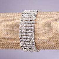 Браслет стразовый шестирядный белые стразы, диаметр 4мм, толщина 21мм белый металл