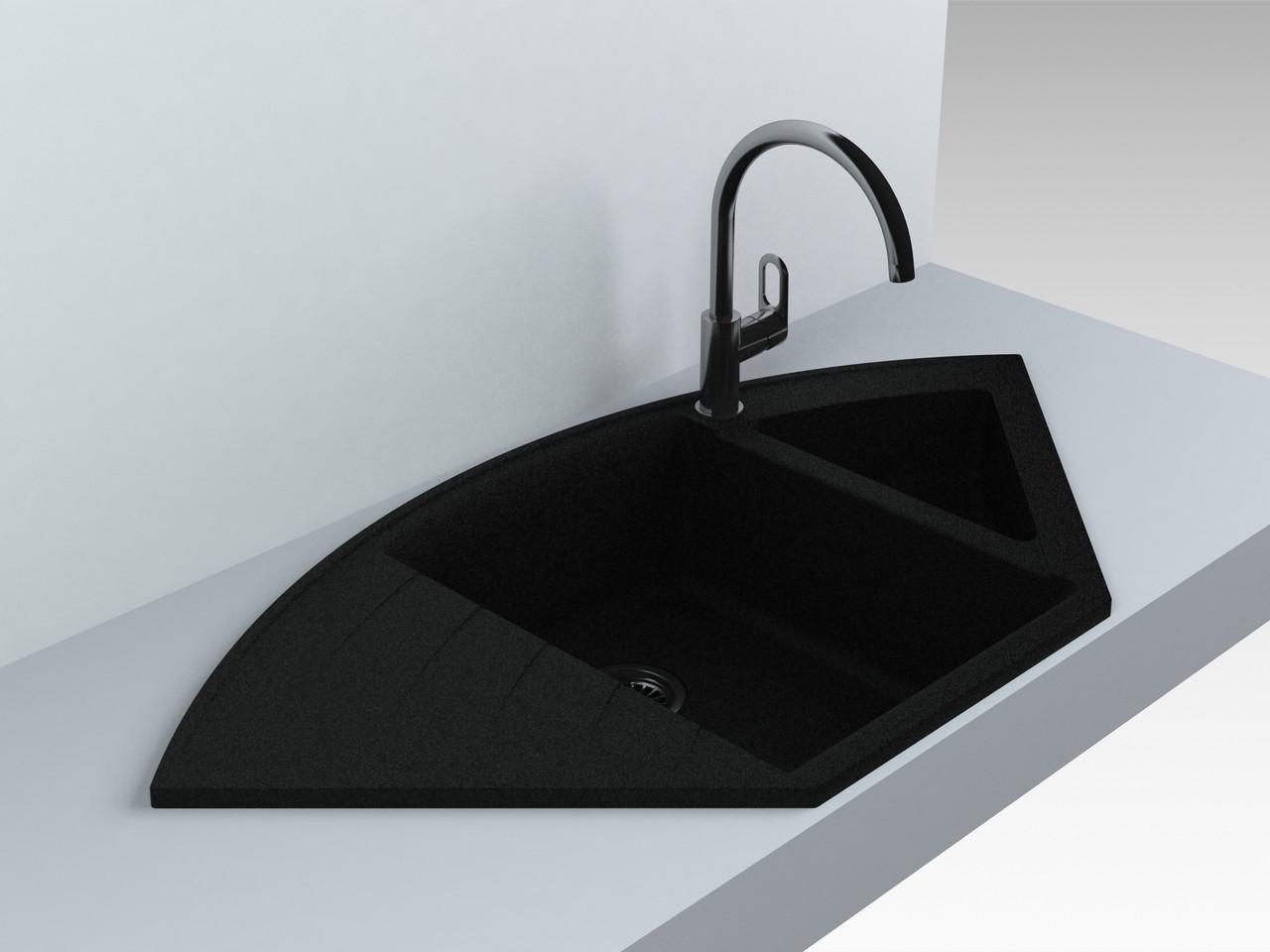Кухонная мойка угловая из кварца 1100*575*215 мм Miraggio Europe черный