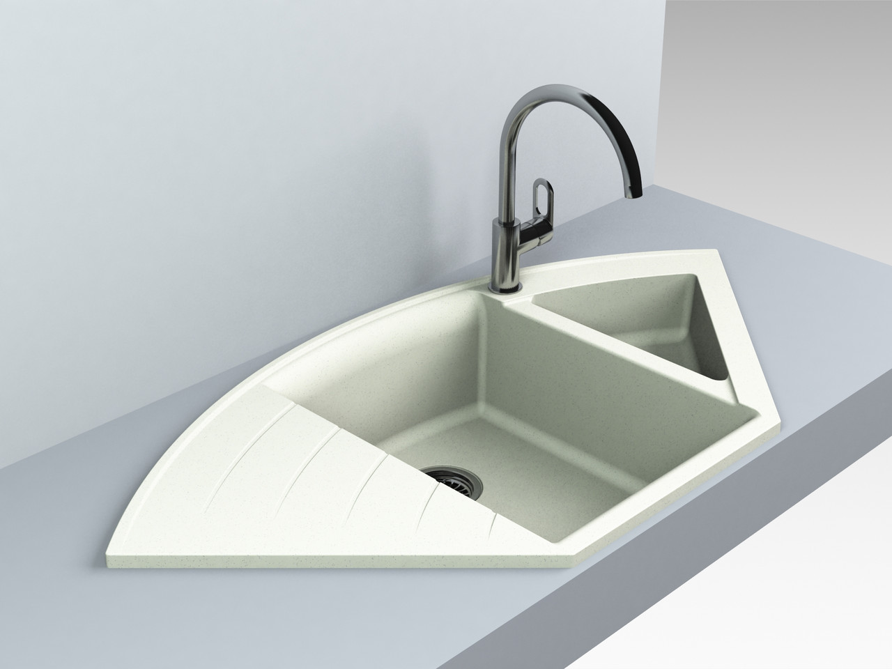 Кухонная мойка угловая искусственный камень 1100*575*215 мм Miraggio Europe жасмин