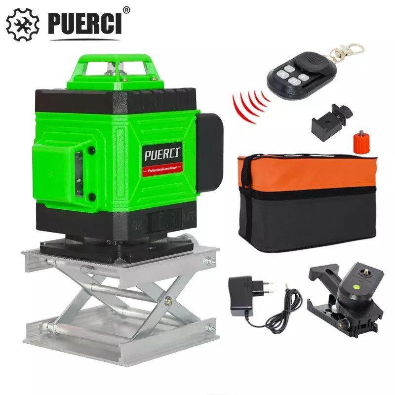 4D Лазерный уровень Puerci 4D 16 линий ➜ ПУЛЬТ ➜ Зеленые лучи ➜ ГАРАНТИЯ: 1 год