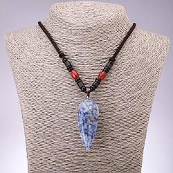 Кулон из натурального камня Содалит 20х50мм (+-) на шнуре, длина 60см