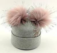 Детская шапка теплая с 52 по 58 размер детские шапки зимние флисом помпонами теплые зимняя, фото 1