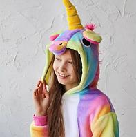 Пижама Кигуруми единорог радуга детская (6-14лет) на девочку