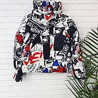 Яркая демисезонная куртка с высоким воротом